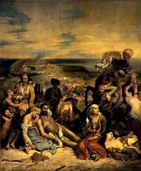 Scène des massacres de Scio  (Eugène Delacroix. Musée du louvre)