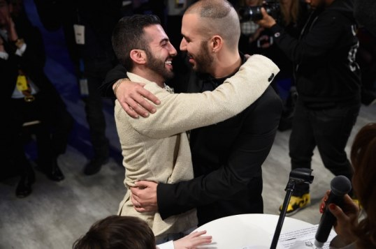 NEW YORK, NY - FEBRUARY 14: Israeli fashion designer, Idan Cohen (R) and his life and business partner, Elad Borenstein are married during Mercedes-Benz Fashion Week Fall 2015 at The Pavilion at Lincoln Center on February 14, 2015 in New York City. Following the wedding, Cohen presented his Fall 2015 collection.   Andrew H. Walker/Getty Images/AFP