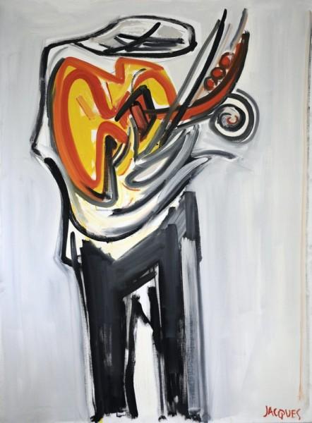 Le musicien(env.2005) Huile sur toile