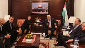 Itshak Herzog à la Mukata de Ramallah. Où est le drapeau israélien ?