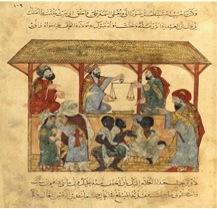Marché d'esclaves de Zabid, au Yémen (manuscrit arabe, 13ème siècle, BNF)
