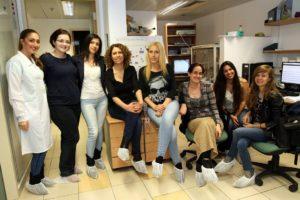 Prof. Mouna Maroun, fourth from left, with her lab group. Photo courtesy of the University of Haifa