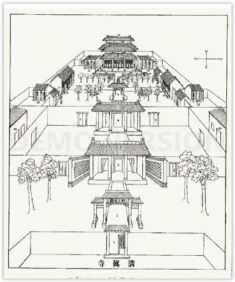 Vue extérieure de la synagogue de Kaïfeng, d'après les dessins du Père Jean Domenge (1722)