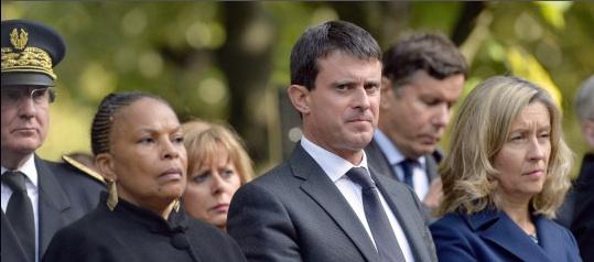 meeting de défense contre l'extrémisme. Christiane Taubira et Manuel Valls ...