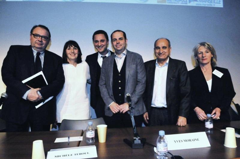 de gauche à droite Patrick Mennucci, Michèle Teboul, Roland Elbez, Yves Moraine, Isidore Aragones et Edith Bismuth