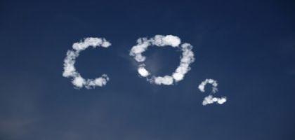 CO2 written in clouds in the sky