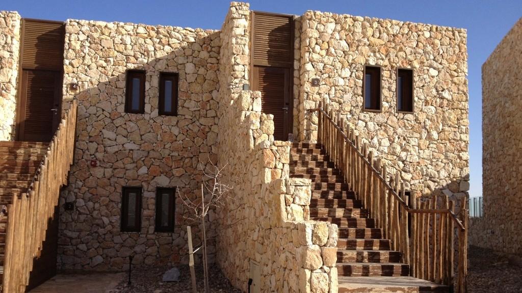 "Les "" cabines"" de l'Hôtel Bereshit  (photo credit: Jessica Steinberg/Times of Israel)"