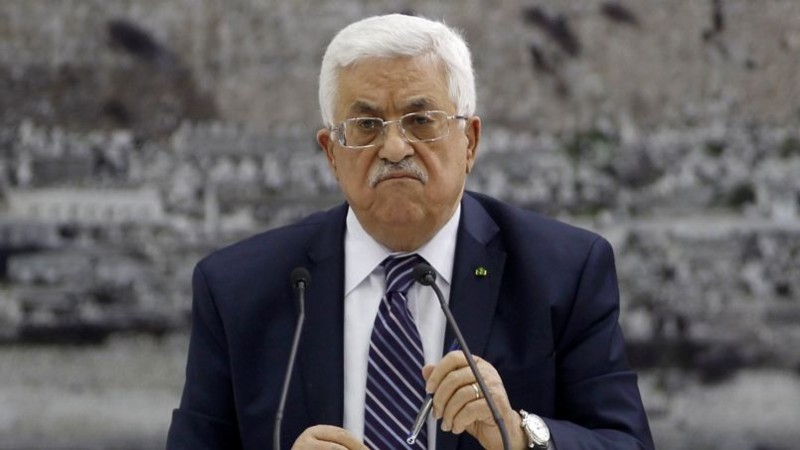 File picture of Palestinian President Abbas during a meeting with Palestinian leaders in the West Bank city of Ramallah