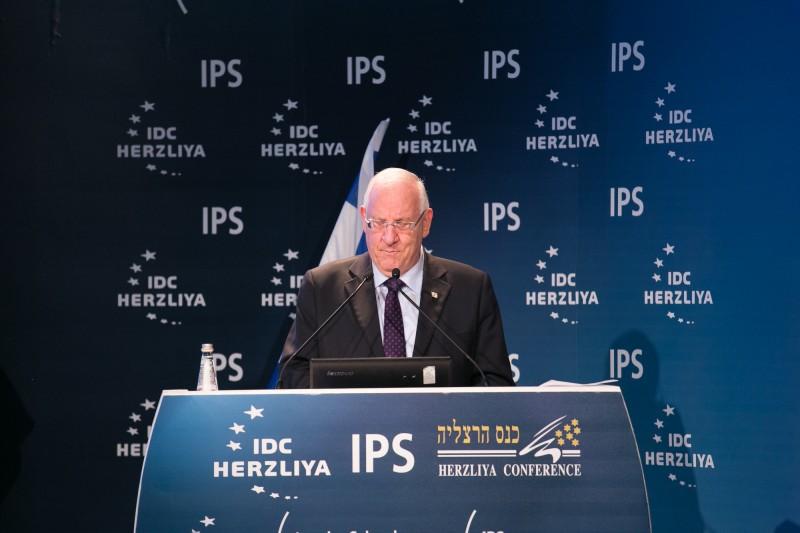 Le président Reouven Rivlin à la Convention de Herzliya – Crédit photo : Erez Haroudi/Making picures