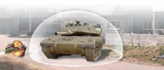 """Le système """"Trophée"""" crée un bouclier protecteur de 360 degrés autour du tank"""