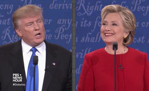 Donald Trump et Hillary Clinton lors du premier débat présidentiel le 26 septembre 2016 (Capture d'écran Youtube/PBS NewsHour)