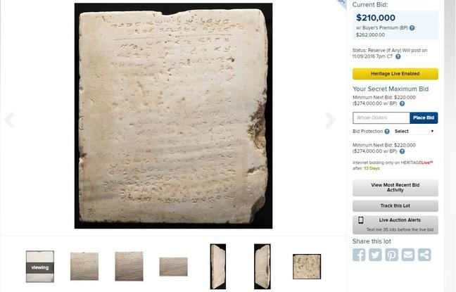 La plus ancienne tablette des dix commandements mise aux enchères en novembre 2016. - Capture d'écran Heritage Auctions