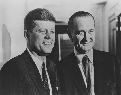 LOBPP-PH-001                          Date unknown John F. Kennedy and Lyndon B. Johnson. Photograph of Senators John F. Kennedy (left) and Lyndon B. Johnson (right) during Senator Kennedy's 1960 presidential campaign. Photographer unknown. Copyright unknown. Lawrence F. O'Brien Presonal Papers Collection. John F. Kennedy Presidential Library and Museum, Boston.